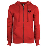 ENZA Ladies Red Fleece Full Zip Hoodie-Red Wolf Head
