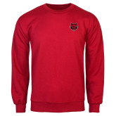 Red Fleece Crew-Red Wolf Head