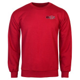 Red Fleece Crew-Red Wolf Head w/A State