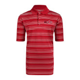 Adidas Climalite Red Textured Stripe Polo-Red Wolf Head w/A State