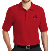 Red Easycare Pique Polo-Red Wolf Head