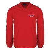 Colorblock V Neck Red/White Raglan Windshirt-A State