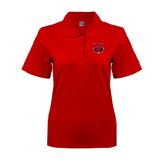 Ladies Easycare Red Pique Polo-Red Wolf Head