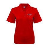 Ladies Easycare Red Pique Polo-Red Wolf Head w/A State