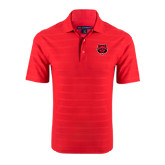 Red Horizontal Textured Polo-Red Wolf Head