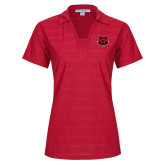 Ladies Red Horizontal Textured Polo-Red Wolf Head