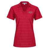 Ladies Red Horizontal Textured Polo-A State