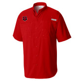 Columbia Tamiami Performance Red Short Sleeve Shirt-Red Wolf Head