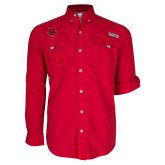 Columbia Bahama II Red Long Sleeve Shirt-Red Wolf Head