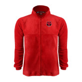Fleece Full Zip Red Jacket-Red Wolf Head