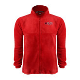Fleece Full Zip Red Jacket-Red Wolf Head w/A State