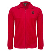 Fleece Full Zip Red Jacket-Red Wolf Head