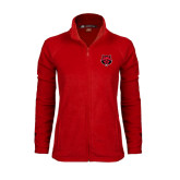 Ladies Fleece Full Zip Red Jacket-Red Wolf Head