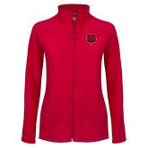 Ladies Fleece Full Zip Red Jacket-Red Wolf Head