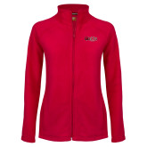 Ladies Fleece Full Zip Red Jacket-Red Wolf Head w/A State