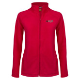 Ladies Fleece Full Zip Red Jacket-A State w Red Wolf