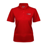 Ladies Red Dry Mesh Polo-Red Wolf Head w/A State
