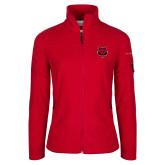Columbia Ladies Full Zip Red Fleece Jacket-Red Wolf Head