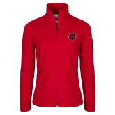 Columbia Ladies Full Zip Red Fleece Jacket-Red Wolf Head