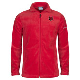 Columbia Full Zip Red Fleece Jacket-Red Wolf Head