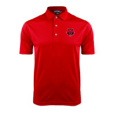 Red Dry Mesh Polo-Red Wolf Head