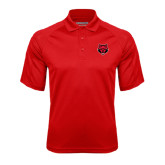 Red Textured Saddle Shoulder Polo-Red Wolf Head