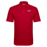 Red Textured Saddle Shoulder Polo-A State