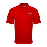 Red Mini Stripe Polo-Red Wolf Head w/A State