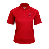 Ladies Red Textured Saddle Shoulder Polo-Red Wolf Head