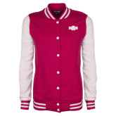 Ladies Pink Raspberry/White Fleece Letterman Jacket-A State