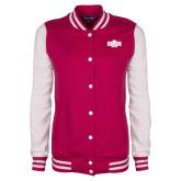 Ladies Pink Raspberry/White Fleece Letterman Jacket-A State