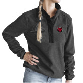 Ladies DRI DUCK Aspen Charcoal Fleece Pullover-Red Wolf Head