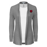 Ladies Heather Grey Open Front Cardigan-Red Wolf Head