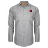 Red Kap Light Grey Long Sleeve Industrial Work Shirt-Red Wolf Head