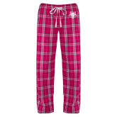 Ladies Dark Fuchsia/White Flannel Pajama Pant-Red Wolf Head