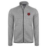 Grey Heather Fleece Jacket-Red Wolf Head