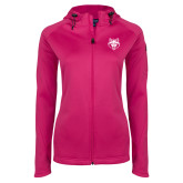 Ladies Tech Fleece Full Zip Hot Pink Hooded Jacket-Red Wolf Head