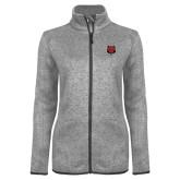 Grey Heather Ladies Fleece Jacket-Red Wolf Head