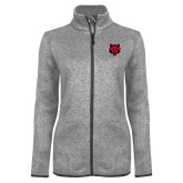 Grey Heather Ladies Fleece Jacket-Red Wolf Head