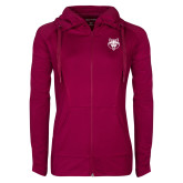 Ladies Sport Wick Stretch Full Zip Deep Berry Jacket-Red Wolf Head
