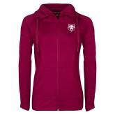 Ladies Sport Wick Stretch Full Zip Deep Berry Jacket-Red Wolf Head