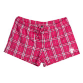 Ladies Dark Fuchsia/White Juniors Flannel Plaid Boxer-Red Wolf Head