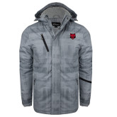 Grey Brushstroke Print Insulated Jacket-Red Wolf Head