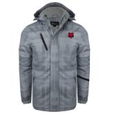 Grey Brushstroke Print Insulated Jacket-Red Wolf Head