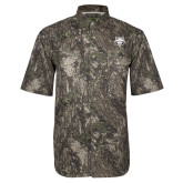 Camo Short Sleeve Performance Fishing Shirt-Red Wolf Head