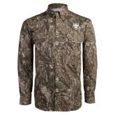 Camo Long Sleeve Performance Fishing Shirt-Red Wolf Head