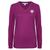 Ladies Deep Berry V Neck Sweater-Red Wolf Head