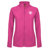 Ladies Fleece Full Zip Raspberry Jacket-Red Wolf Head