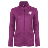 Dark Pink Heather Ladies Fleece Jacket-Red Wolf Head