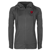 Ladies Sport Wick Stretch Full Zip Charcoal Jacket-Red Wolf Head